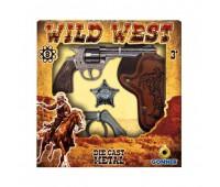 Игровой набор револьвер на 8 пистонов, звезда шерифа, кобура, наручники Gonher 157/0