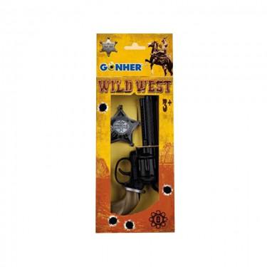 Игровой набор револьвер на 8 пистонов, звезда шерифа Gonher 204/0