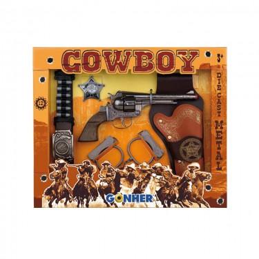 Игровой набор револьвер на 12 пистонов, звезда шерифа, кобура, наручники, ремень Gonher 235/0