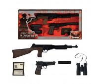 Игровой набор винтовка на 8 пистонов, пистолет с глушителем на 8 пистонов, бинокль,  удостоверение Gonher 239/6