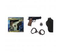 Игровой набор пистолет на 8 пистонов, жетон, кобура, наручники Gonher 425/6