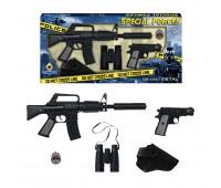 Игровой набор штурмовая винтовка на 8 пистонов, пистолет на 8 пистонов, бинокль, кобура, жетон Gonher 446/6