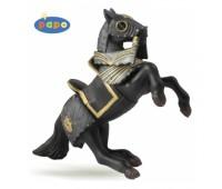 39276 Конь на дыбах в доспехах черный